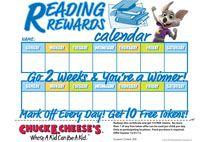Chuck E. Cheese Reading Rewards calendar for kids.