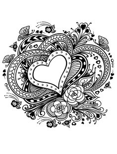 Love heart coloring page | Hearts + Love Coloring Pages for Adults ...