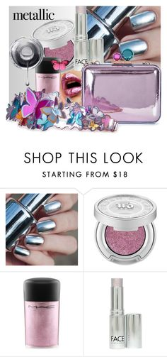 """""""Shiny"""" by interesting-times ❤ liked on Polyvore featuring beauty, Urban Decay, MAC Cosmetics, FACE Stockholm, Sophia Webster and metallicmakeup"""