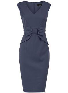 Blue peplum bow dress - Sale & Offers - Dorothy Perkins United States