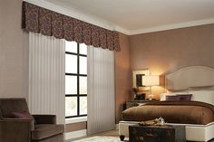 Fabric Vertical Blind with Cord and Chain Control: Compass, South Seas 0071; Flat Scallop Valance: Bellamy, Gemma 4361