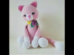 Amigurumi Knitting Amigurumi cat making section 1 Crochet Animals, Crochet Toys, Hello Kitty Pictures, Pink Nikes, Pink Cat, Doll Tutorial, Cat Pattern, Amigurumi Patterns, Dinosaur Stuffed Animal