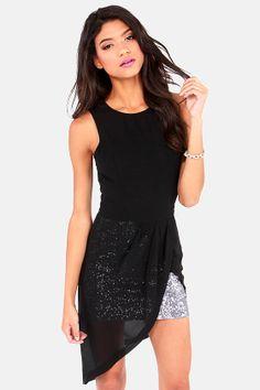 Black & Silver Sequin Dress <3