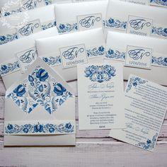 """Купить Приглашение в конверте """"Гжель 2"""" - синий, белый, гжель, гжельский узор, приглашения на свадьбу"""