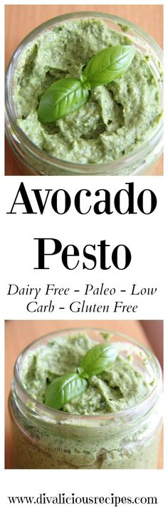 This avocado pesto is a great vegan and paleo option with avocado replacing hard cheese in the recipe. Recipe - http://divaliciousrecipes.com/2013/07/11/avocado-pesto-dairy-free/