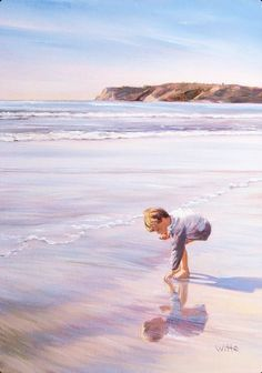 This is an original oil on canvas art painting by American Artist Marie Witte, named 'Collecting Seashells' (completed in Fine art prints of the original painting are available for purchase. Beach Kids, Beach Art, Watercolor Portraits, Watercolor Paintings, Beach Paintings, Beach Images, Beach Scenes, Art Themes, Sea Creatures