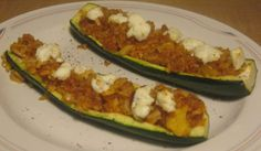 baked zucchini with rice, sriracha, and goat cheese - I'll tweak it a bit, but sounds like a yummy base recipe