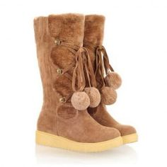 $21.87 Sweet Women's Mid-Calf Boots With Faux Fur and Cross Straps Design