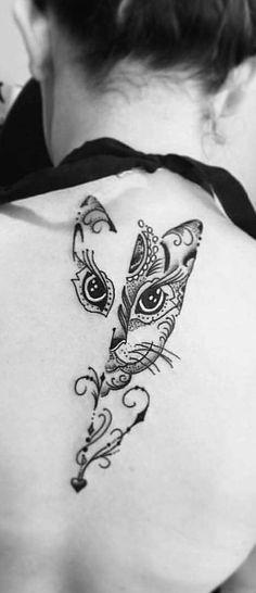Bohemian cat tattoo