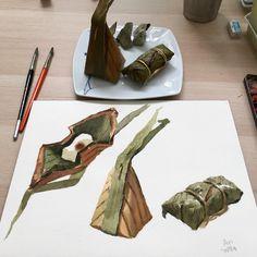 "678 Likes, 4 Comments - Tamra Chatikanon (@tamra.watercolor) on Instagram: ""watercolor ชั้นเรียนวาดขนมไทย #watercolor #watercolors #painting #paint #watercolorpainting…"""
