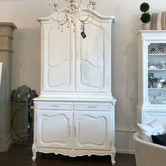 Antique French 2 Piece Hutch - We Painted in our Signature White + Light Hand Distressing - You Need to See it in Person! www.winterberrylane.com oakville