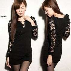 Korean Sexy Womens Patchwork Transparent #Lace #Mini Dress #V Neck Long Sleeve