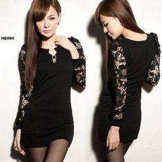 Korean Sexy Womens Patchwork Transparent #Lace #Mini Dress #V Neck Long Sleeve
