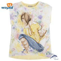 Camiseta de niña juvenil manga corta MAYORAL floral