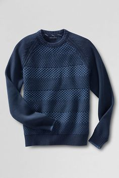 Men's Drifter Cotton Stripe Crewneck Sweater from Lands' End