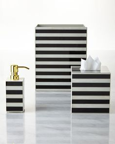 Striped+Vanity+Accessories+by+Waylande+Gregory+at+Horchow black and white stripe bathroom vanity set - Home Decorating DIY Eclectic Bathroom, Chic Bathrooms, Bathroom Styling, Amazing Bathrooms, Bathroom Sets, Bathroom Colors, Bathroom Storage, Bathroom Lighting, Modern Bathroom Accessories