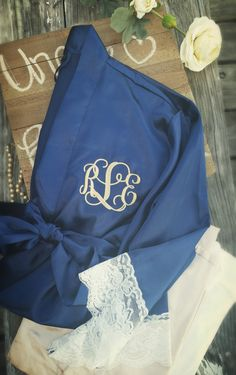 Monogram Lace Robe - Bridesmaid Silk Robes - Bride Satin Robe by SouthernTLC on Etsy
