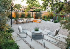 Hardscape Design Elements    Create lines of sight that pique curiosity and encourage wandering to other sections of the garden. From the seating area, an overhead trellis and a dining table beckon, as do two wooden benches and a sunken patio.Use gravel light on color to open up a smaller space.
