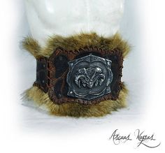 Barbarian belt with demon head. Leather belt with Larp Armor, Barbarian, Goblin, Fantasy Characters, Etsy, Armours, Leather, Belt, Handmade Gifts