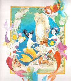 Triton's daughters: oldest to youngest: Attina, Alana, Adella, Aquata, Arista, Andrina & Ariel http://disney.wikia.com/wiki/King_Triton's_Daughters