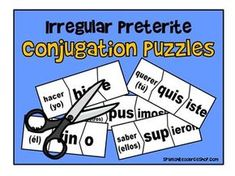 There are so many irregular Spanish preterite verbs that students often feel overwhelmed! Make these preterite irregular verbs much more fun by providing these conjugation puzzles! Students will be learning the forms without even realizing it as they search for the pieces that fit!