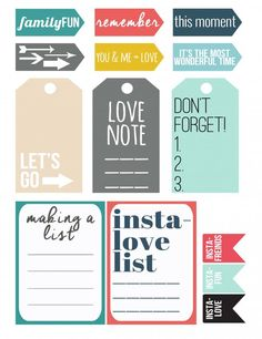 Fun for in a planner! Printable Tags, Printable Planner, Planner Stickers, Free Printables, Planner Pages, Life Planner, Happy Planner, Project Life Freebies, Project Life Cards