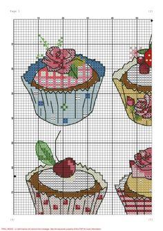 Cupcake Cross Stitch, Cross Stitch Love, Cross Stitching, Cross Stitch Embroidery, Stitch 2, Le Point, Cupcakes, Cross Stitch Patterns, Needlework