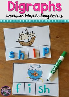 These fun, hands-on digraph activities were designed to help my students practice segmenting and spelling words with beginning and ending digraphs th, sh, ch, and wh. These work well as word work center centers in first grade and second grade. Great for small group intervention too! $