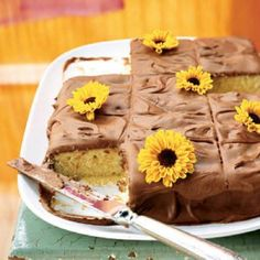 Yellow Sheet Cake with Chocolate Frosting | CookingLight.com