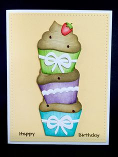 Stacked Cupcakes Happy Birthday Card by Jackeline Hernandez