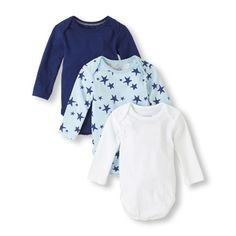 Three times the essential bodysuit for your baby boy! Available in long and short sleeve