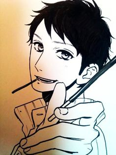 ✮ ANIME ART ✮ anime boy. . .pocky. . .sharing pocky. . .smile. . .drawing. . .marker. . .ink. . .doodle. . .cute. . .kawaii