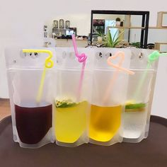 50pcs Transparent Plastic Beverage DIY Drink Container Drinking Bag Fruit Juic Self-sealed Storage Bag #Affiliate