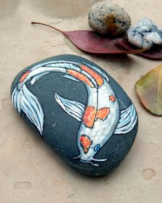 Koi Fish HAND PAINTED Stones Painted Rocks Zen Garden Fish Pond Art Asian Koi Fishes Animal Totems Gifts for Aquarium Lovers Pet Portraits