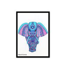 elephant art print mandala elephant wall art blue and purple etsy Zentangle Elephant, Mandala Elephant, Elephant Wall Art, Elephant Head, Tribal Elephant, Baby Wall Decor, Flower Wall Decor, Wall Decor Amazon, African Bush Elephant