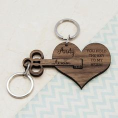 This personalized key chain is perfect for couples for their Anniversary gift # DIY Gifts for couples Couple's Personalized Wooden Anniversary Keychain Bday Gifts For Him, Surprise Gifts For Him, Thoughtful Gifts For Him, Romantic Gifts For Him, Valentines Day Gifts For Him, Romantic Ideas, Romantic Dates, Original Wedding Gifts, Cadeau Couple