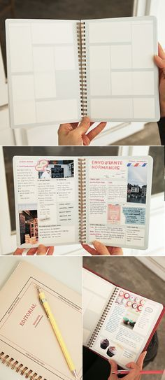 This 160 page scrapbook can also be used as a unique way to take notes for classes or projects, especially useful for visual learners! The block style layout is a great way to keep all your notes for class super organized. Good for travel journal Diy Bullet Journal, Planner Bullet Journal, Bullet Journals, Moleskine, Do It Yourself Inspiration, Journal Inspiration, Inspiration Boards, Filofax, Kalender Design