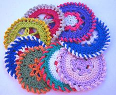 Crocheted colour wheels - Four different crochet circle patterns, ideal for coasters - Free pattern from MyCrochetProjects.