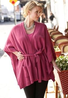 Plus Size Belted Sweater Poncho | Plus Size Sweater Sale | Jessica London - StyleSays