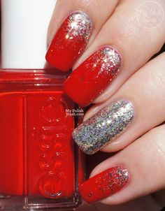 Essie - Really Red with F.U.N. Lacquer - Pay Day (H) glitter fade