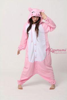 51fb806b3c32 Fleece Pink Pig Kigurumi Animal Onesie