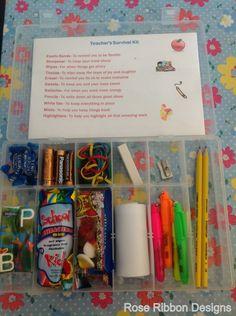 Alternative end of year teacher gift - a light hearted but practical Teacher's Survival Kit