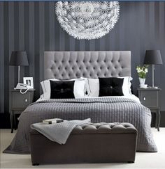 Chic Bedroom Decorate With Black And White For A Beautiful Best Hotel Style Bedrooms Ideas Blue And Grey Bedroom Ideas For Men Or Boys Modern Furniture Design Monochrome Bedroom, White Bedroom Decor, Gray Bedroom, Home Bedroom, Master Bedrooms, Grey Room, Silver Bedroom, Bedroom Furniture, White Bedrooms