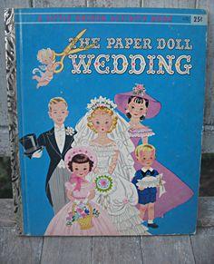 "Vintage little golden book, ""The Paper Doll Wedding"", Hilda Miloche, via Etsy."