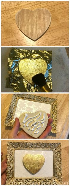 DIY Gold Leaf Heart frame. Easy craft tutorial on using gold leaf and creating wall art - gallery wall - From Evija with Love
