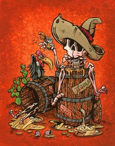 Day of the Dead Artist David Lozeau, One Tequila, Two Tequila, David Lozeau Dia de los Muertos Art - 1