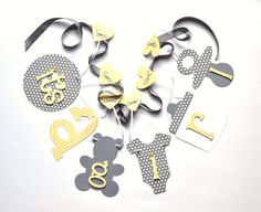 Yellow and grey baby shower decorations polka dot by ParkersPrints, $16.50