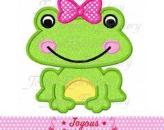 V-Day Girl Frog Applique by AppliqueWorldLLC on Etsy