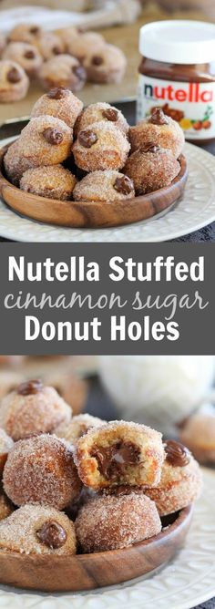 Nutella Stuffed Cinnamon Sugar Donut Holes - Baked vanilla donut holes coated in cinnamon sugar and filled with creamy Nutella. No frying necessary! (Nutella No Baking Cookies) Just Desserts, Delicious Desserts, Dessert Recipes, Yummy Food, Donut Recipes, Baking Recipes, Recipes With Nutella, Babycakes Recipes, Snacks Recipes