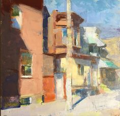 Jon Redmond Newkirk Street 2017 Oil on board 14 x 14 inches Contemporary Landscape, Urban Landscape, Contemporary Paintings, Klimt, Painting Edges, Painting & Drawing, Urban Painting, Building Painting, Landscape Paintings
